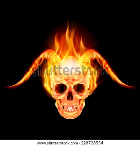 Raster version. Scary skull on fire with demon flaming horns  - stock photo