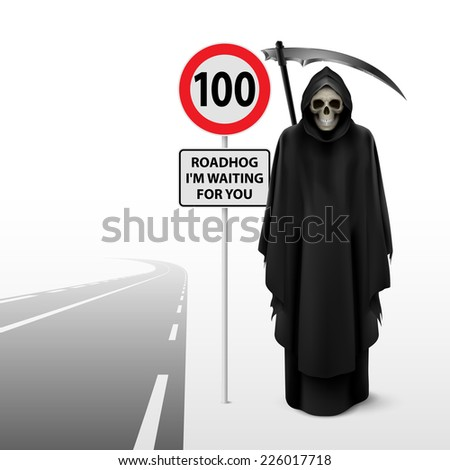 Raster version. Scytheman beside the road with a traffic sign 100  - stock photo