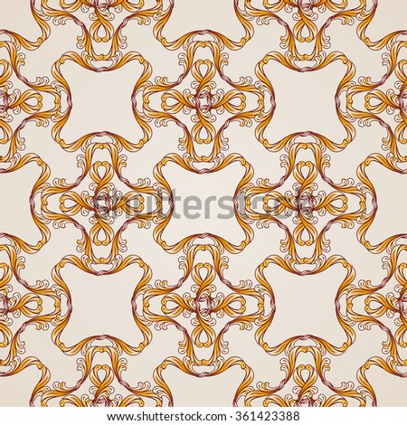 Raster version. Seamless abstract floral pattern in  form of golden lines - stock photo