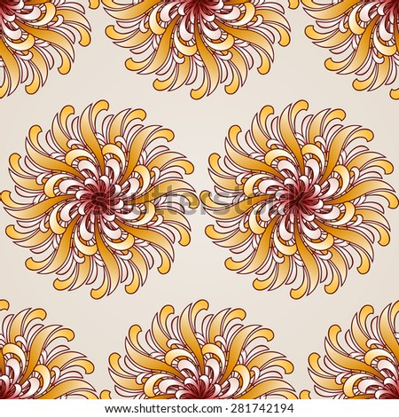 Raster version. Seamless abstract floral pattern in the form  beauty flowers