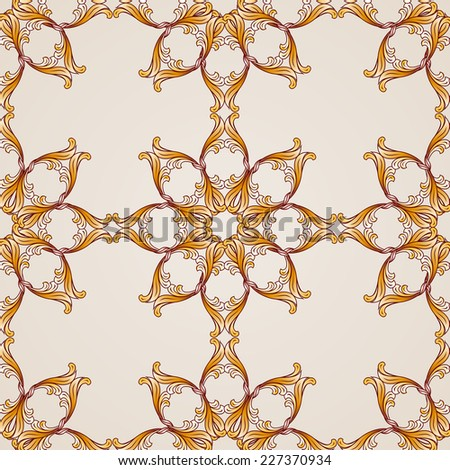 Raster version. Seamless abstract floral pattern in the form of golden frames  - stock photo