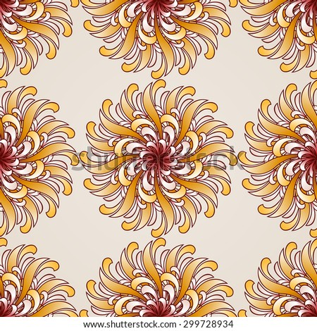 Raster version. Seamless abstract floral pattern in the form of ornate golden flowers - stock photo