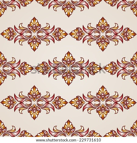 Raster version. Seamless abstract floral pattern in the form of plants  - stock photo