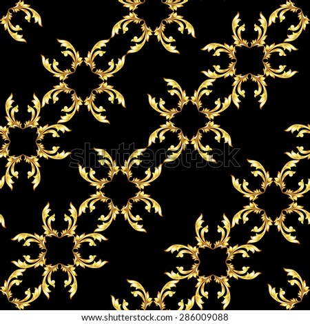 Raster version. Seamless diagonal gold floral pattern on black background  - stock photo
