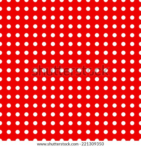 Raster version. Seamless dotted pattern in red and white colors  - stock photo