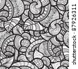 raster version, seamless ethnic doodle monochrome pattern - stock photo