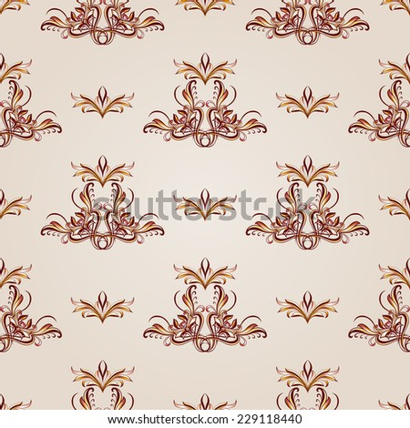 Raster version. Seamless floral pattern of brown henna on the beige background  - stock photo