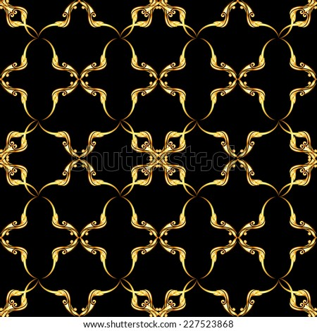 Raster version. Seamless gold floral pattern on the black background  - stock photo