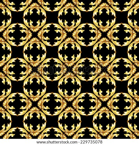 Raster version. Seamless golden floral patterns on the black background  - stock photo