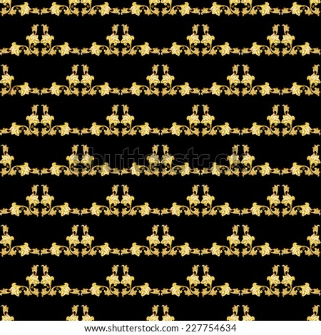Raster version. Seamless gorizontal gold floral pattern on black background  - stock photo