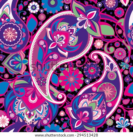 Raster version. Seamless pattern based on traditional Asian elements Paisley. Purple, pink, green. - stock photo