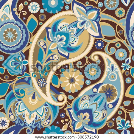 Raster version. Seamless pattern based on traditional Asian elements Paisley. Vintage brown to blue. - stock photo
