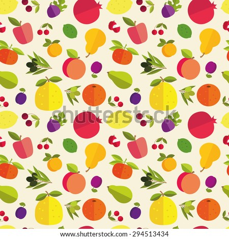Raster version. Seamless pattern of placer fruits of fruit trees. Citrus fruits, stone fruits, pome fruits and exotic fruits on a light background. - stock photo