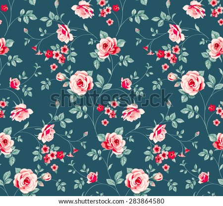 Raster version. Seamless pattern with flowers - stock photo