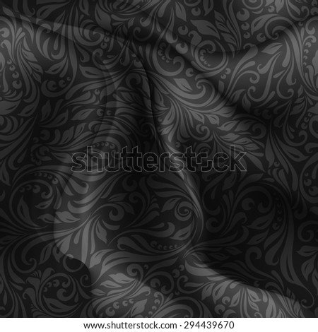 Raster version. Seamless patterned black fabric with a floral pattern in the form of vines  - stock photo