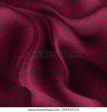 Raster version. Seamless patterned dark red fabric with a floral pattern in the form of vines  - stock photo