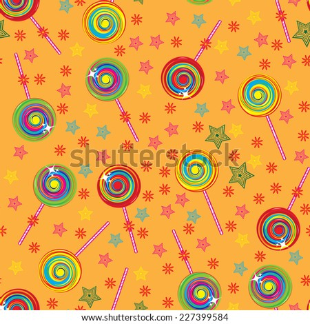 Raster version. Seamless texture colorful lollipops. Illustration for design  - stock photo
