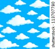 Raster version. Seamless texture of clouds. Illustration on blue background. - stock photo
