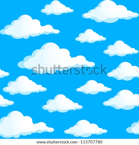 Raster version. Seamless texture of clouds. Illustration on blue background.
