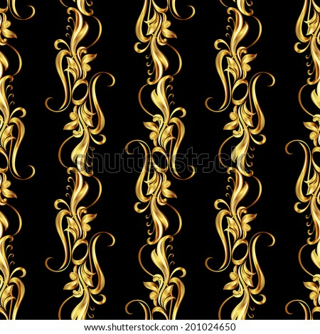 Raster version. Seamless wallpaper with golden pattern. five vertical lines in the form of vines - stock photo