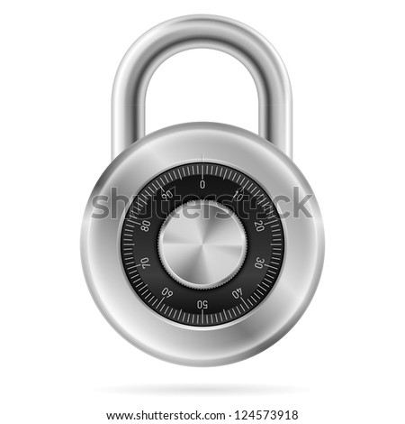 Raster version. Security concept with locked combination pad lock.  Illustration of designer on white background - stock photo