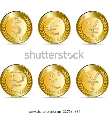 Raster version. Set Gold coin with yen, euro, dollar, rubl, pound, sign. illustration isolated on white background - stock photo