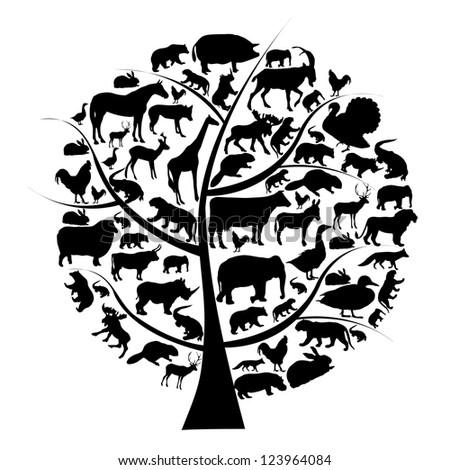 Raster version set of animals silhouette on tree. - stock photo