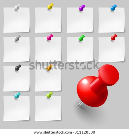 Raster version. Set of Blank sticky notes with pushpins on gray background - stock photo