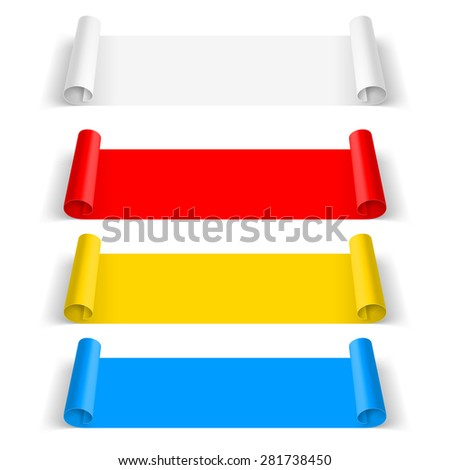 Raster version. Set of color paper sticker isolated on  background - stock photo