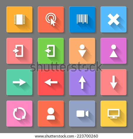 Raster version. Set of colorful flat icons with long shadows for web design and applications  - stock photo
