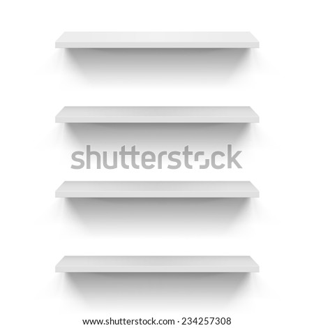 Raster version. Set of empty shelves on the white wall  - stock photo