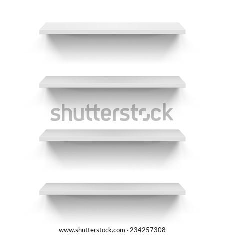 Raster version. Set of empty shelves on the white wall  - stock photo