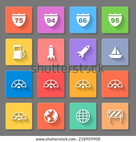 Raster version. Set of flat square  signs  on the gray background  - stock photo