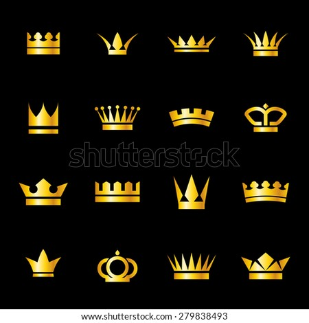 Raster version. Set of icons  golden crowns isolated on   black background