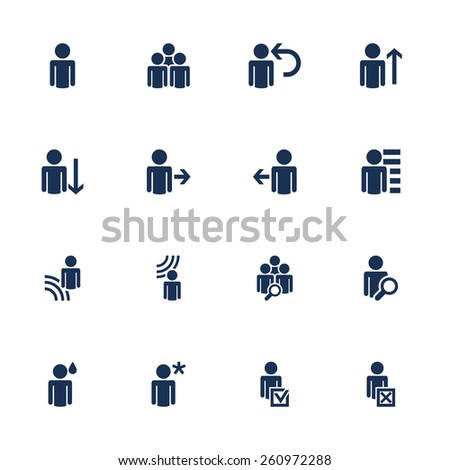 Raster version. Set of icons with human figures in flat style