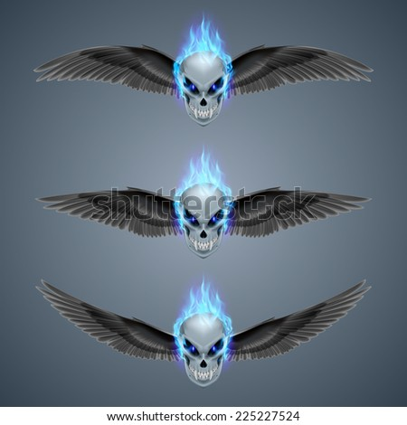 Raster version. Set of mutant skulls with fangs, blue flame and black wings  - stock photo