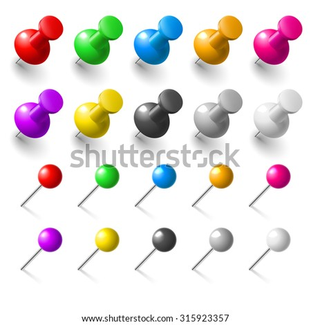 Raster version. Set of pushpins on white background for design