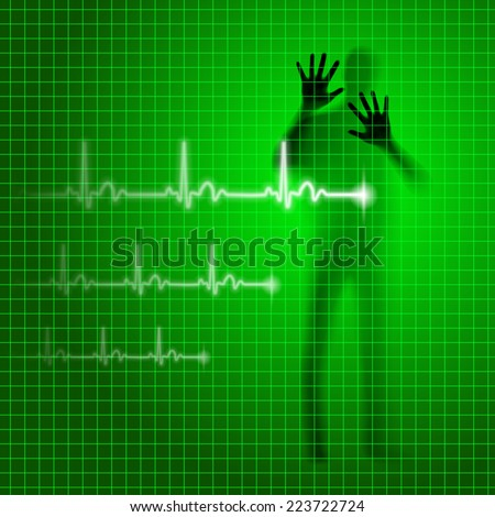Raster version. Shining green medical background with human silhouette and cardiogram line  - stock photo
