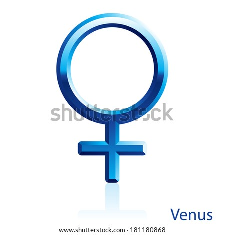 Raster version. Shiny blue Venus sign on white background.