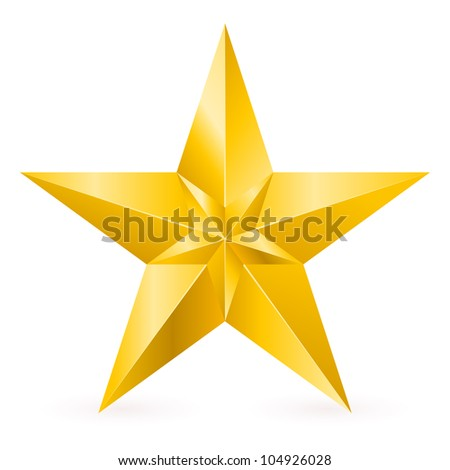 Raster version. Shiny Gold Star. Form of the ninth. Illustration for design on white background