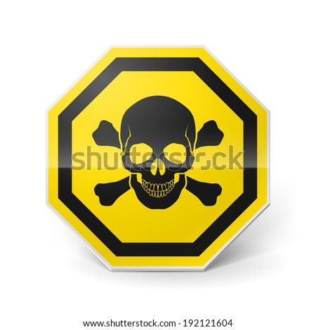 Raster version. Shiny metal warning sign with skull and crossbones on white background - stock photo