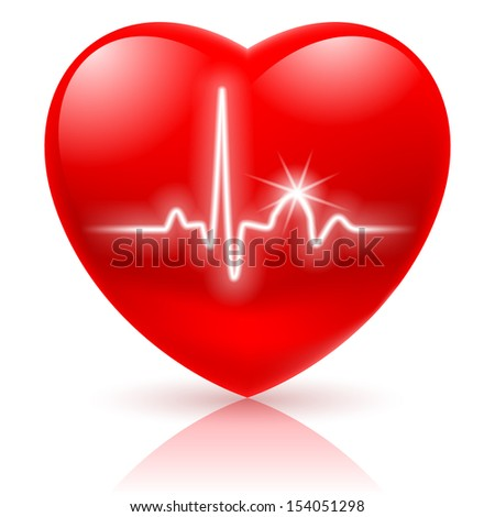 Raster version. Shiny red heart with cardiogram isolated on white. - stock photo