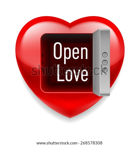 Raster version. Shiny red heart with open vault door and Open Love text inside  - stock photo