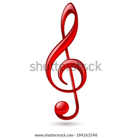Raster version. Shiny red treble clef on white background - stock photo