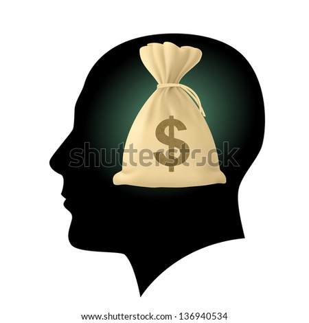 Raster version. Silhouette of human head with bag money. Illustration on white - stock photo