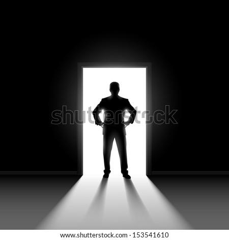 Raster version. Silhouette of man entering dark room with bright light in doorway.  - stock photo