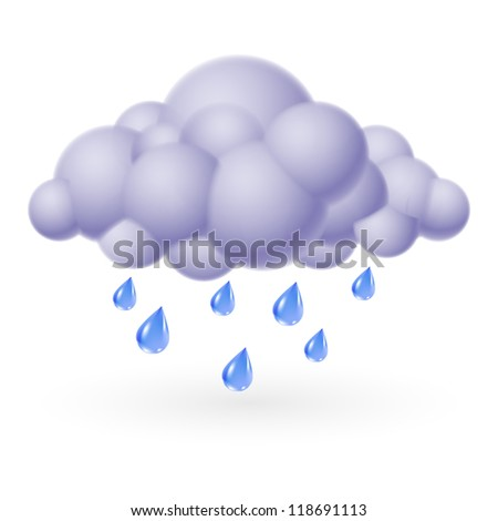 Raster version. Single weather icon - Bubble Cloud with Rain