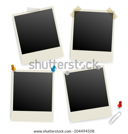 Raster version. Six empty picture frames. Illustration of designer on white background - stock photo
