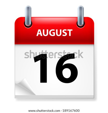 Raster version. Sixteenth in August Calendar icon on white background - stock photo