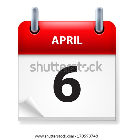 Raster version. Sixth in April Calendar icon on white background - stock photo